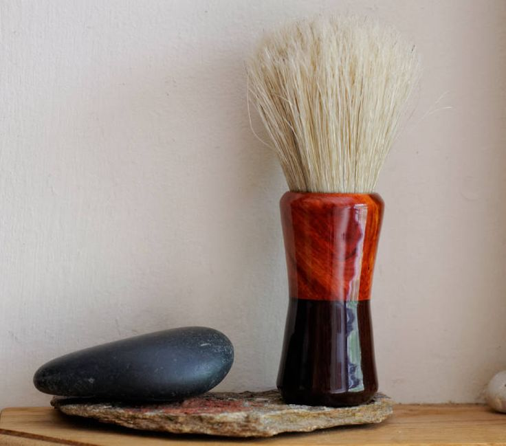 Shaving Brush - Hand-Made Waterproofed African Rosewood and Resin Burl Shaving…