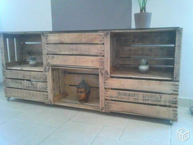 15 best table basse caisses en bois images on pinterest wooden shipping crates couch table. Black Bedroom Furniture Sets. Home Design Ideas