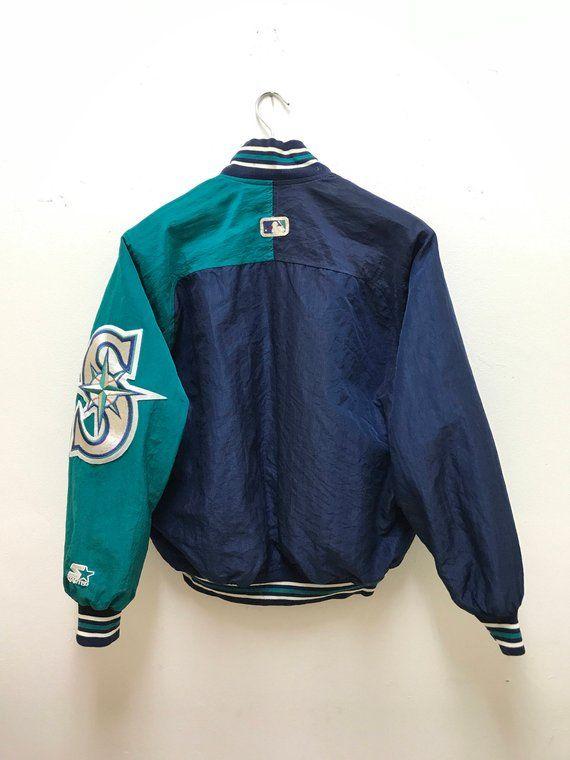 Seattle Mariners Varsity Vintage 90s Rare Mariners Jacket Big Logo ... eddbc9d27