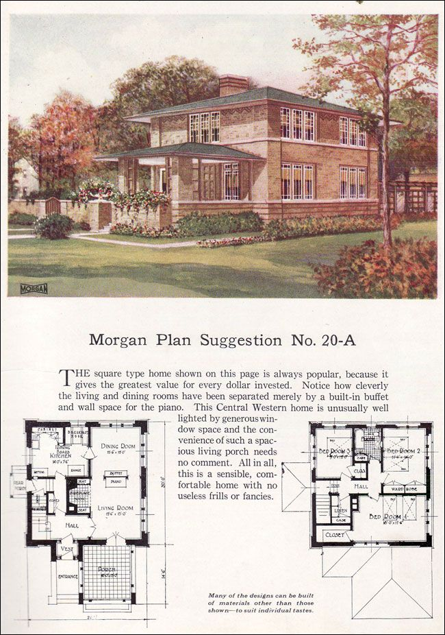 Prairie style home 1920's, 3 bedroom with large front porch. This could easily fit on an urban infill narrow lot, less than 30' wide.