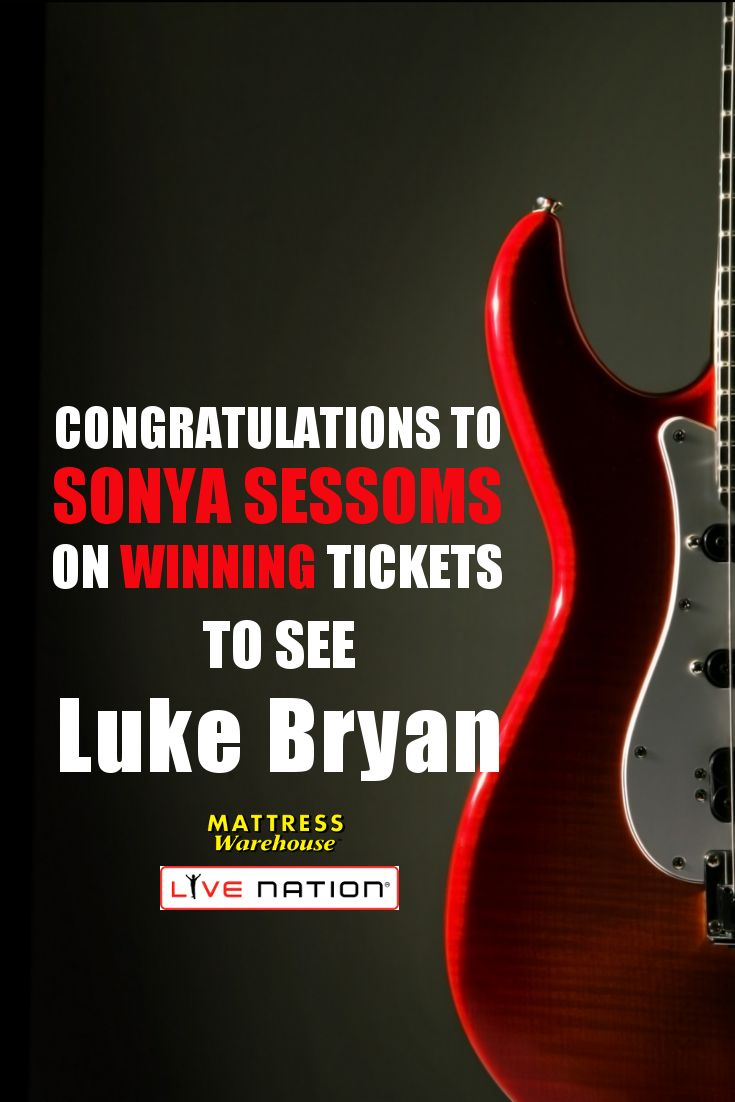 Congratulations to Sonya Sessoms on winning tickets to see Luke Bryan!