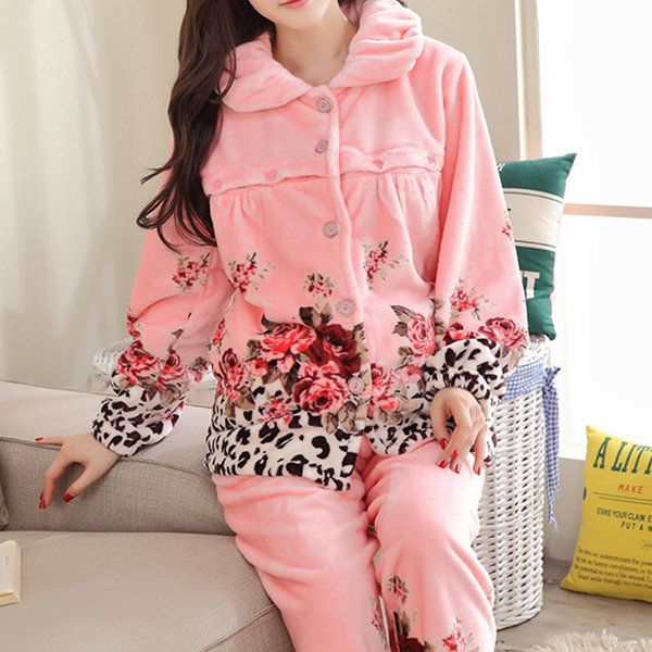 Woman Cozy Thicken Flannel Nursing Nightwear Collar Breast-feed Sleepwear Sets For New Mother at Banggood sold out