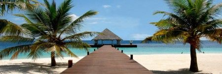 Domek na Plaży w Polinezji - plakat - 158x53 cm  Gdzie kupić? www.eplakaty.pl