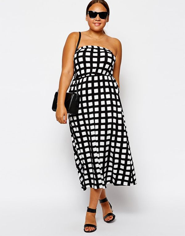 ASOS CURVE Exclusive Bandeau Dress In Monochrome Check | Race Day ...
