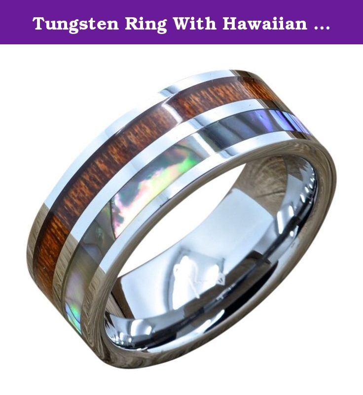Tungsten Ring With Hawaiian Koa Wood and Abalone Inlay, Comfort Fit Ring (10). Tungsten Rings are one of the most popular bands in the world today. Tungsten Rings are the kind of rings which are very tough and very long lasting. Tungsten carbide rings provide comfort and the rings surface is scratch resistant for life. Recently Tungsten wedding rings have become very popular for Married and engaged couples to own versus the traditional wedding band. Tungsten rings are really a worthy ring...