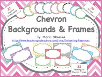 Cute Chevron Backgrounds and Frames to enhance they look of your projects! This product includes 69 graphics!!!!