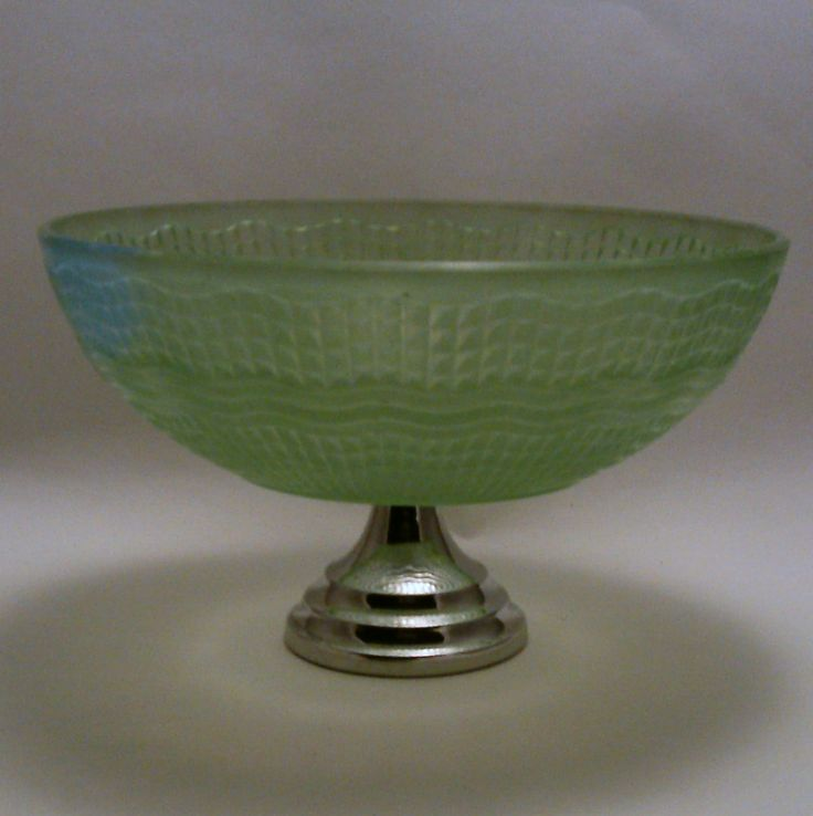 Chance green glass WAVERLEY dessert bowl on chrome stand