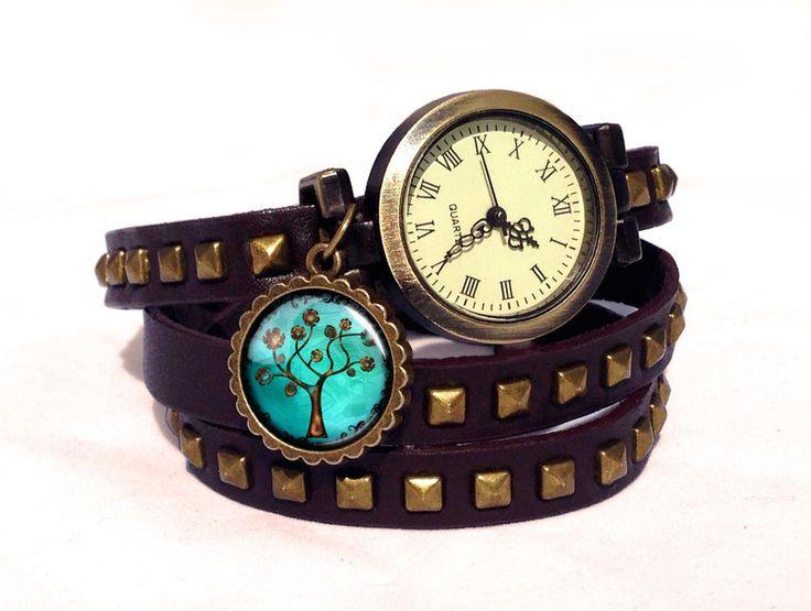 Leather watch bracelet -Tree of hope, 0605WDBC from EgginEgg by DaWanda.com