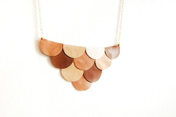 Leather Scallop Petals Necklace  Bokeh Honey Brown by AmprisLoves, $35.00
