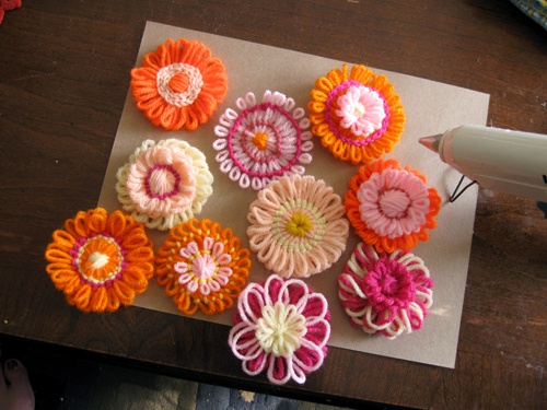 Loomed flowers on a basket