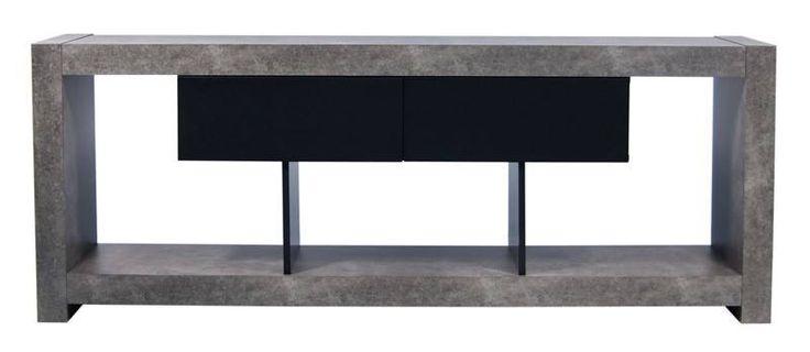 Temahome - Nara TV-bord - Stilfuldt TV-bord i råt beton-look med praktiske sorte skuffer samt sort åbent rum med plads til alt TV-udstyr. Dette flotte TV-bord er inspireret af japansk arkitektur med dets rene former og minimalistiske linjer. TV-bordet kan ligeledes anvendes som anderledes rumdeler til mindre rum for at få flere indretningsmuligheder.