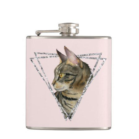 Tabby Cat with Faux Silver Glitter Frame Hip Flask - tap to personalize and get yours  #pink #triangle #triangles #cat #cats #catLovers #pet #pets  #illustrations #illustration #gift #gifts #giftideas #giftforher #animal #animals