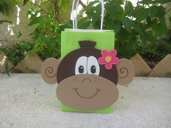 Mod Monkey Birthday Party Favor Bag. $3.00, via Etsy. - This can't be hard to make! Favor bags for Ben's party? (minus the flower for the boy guests!)