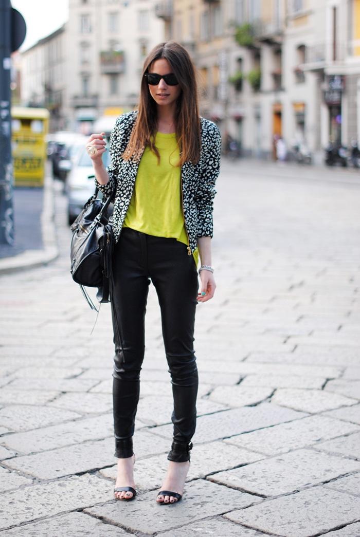 Hot neon top, leather jeans, mango heels