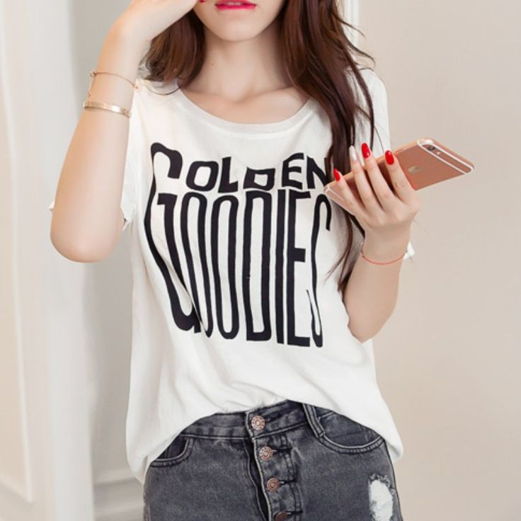 White Pink Women T Shirt Harajuku Digital Letter Print College Casual Short-Sleeved T-Shirt Summer Tops Tees Plus Size Clothing