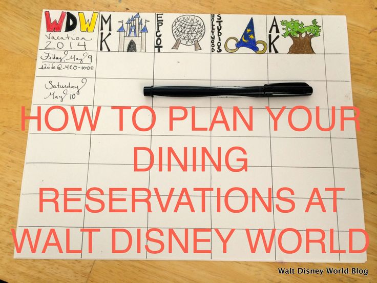 How To Plan Your Dining Reservations At Walt Disney World.