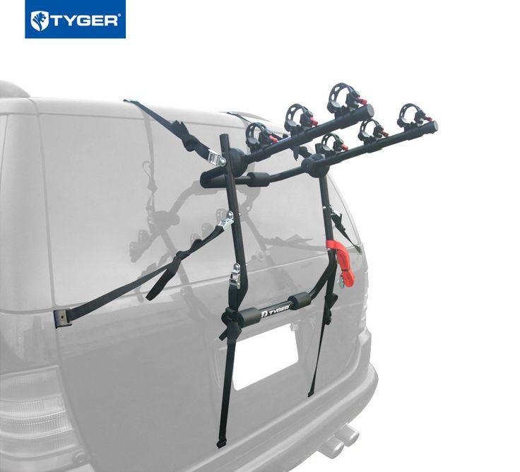 TYGER Deluxe Black 3 Bike Trunk Mount Bicycle Carrier Rack. (Fits Most  Sedans