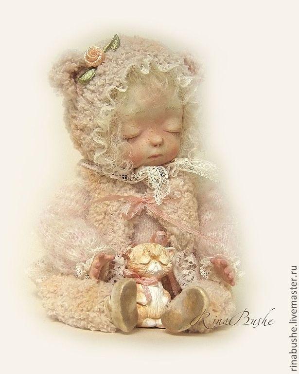 Купить Кэтти - бежевый, бледно-розовый, экрю, спящая красавица, спящая кукла, спящий ангел