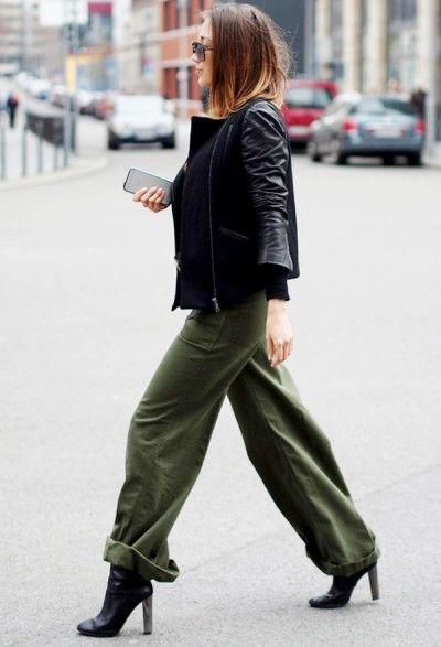 образ со штанами в стиле милитари и кожаной курткой