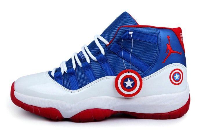 Captain America Jordan's | Jordan Captain America 2014 Nike New Jordan 11 XI Retro Mens Shoes 01 ...