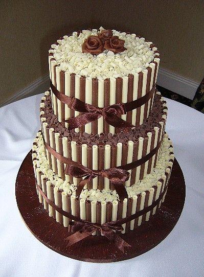 White and Milk Chocolate Tiered Cake.