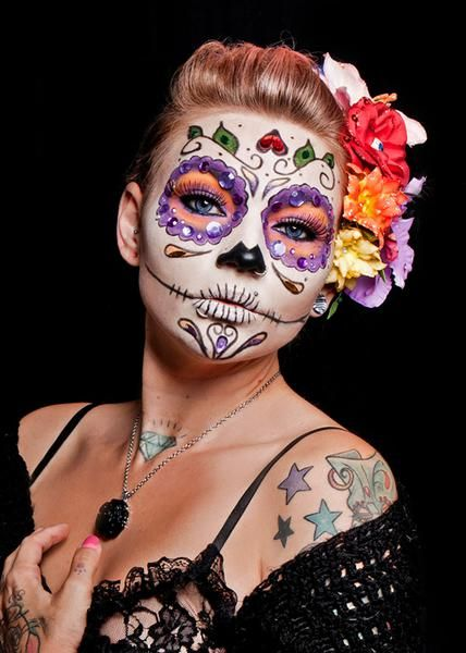 day of the dead halloween sugar skull face paint - Halloween Day Of The Dead Face Paint