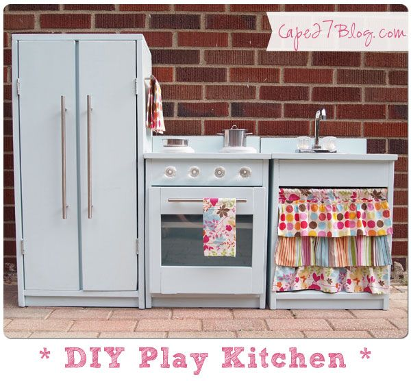 DIY Play Kitchen - not actually going to make this, but I love the colorful fabric!