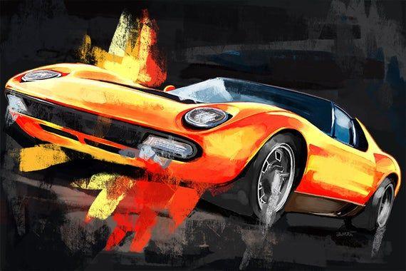 Lamborghini Miura Classic Car Large Wall Art Canvas Art Etsy Large Canvas Wall Art Car Painting Automotive Art