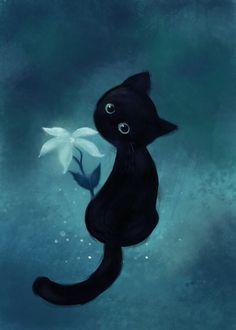 Chat noir aquarelle