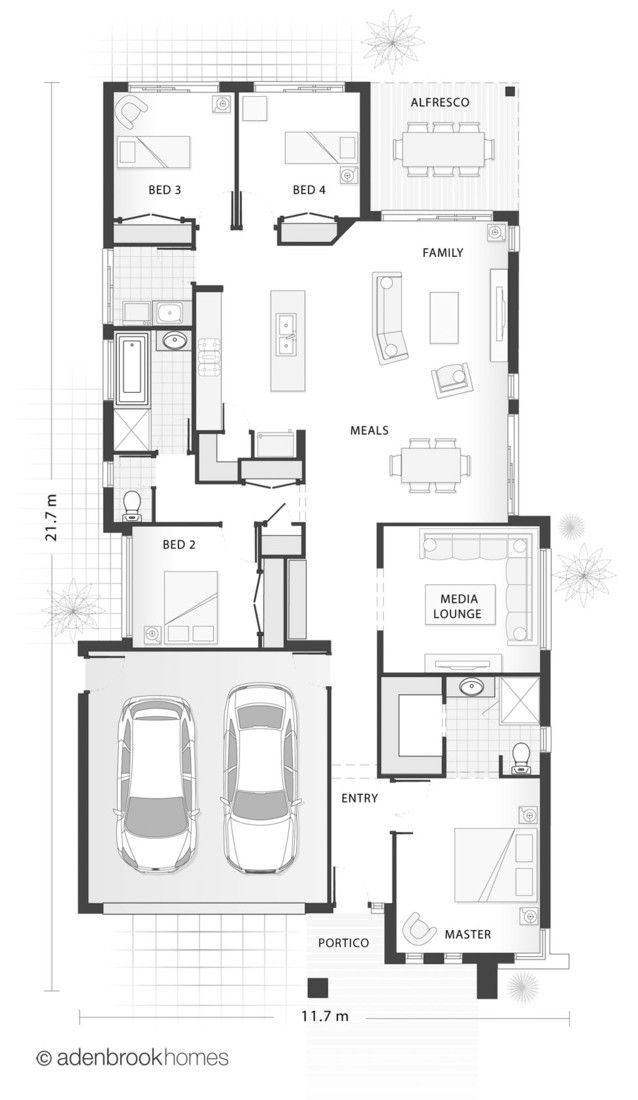 Single storey home design floor plan. 4 Bedrooms, 2 Bathrooms, 2 Car garage.