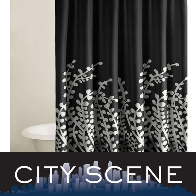 City Scene Branches Black Shower Curtain | Black Shower Curtains ...