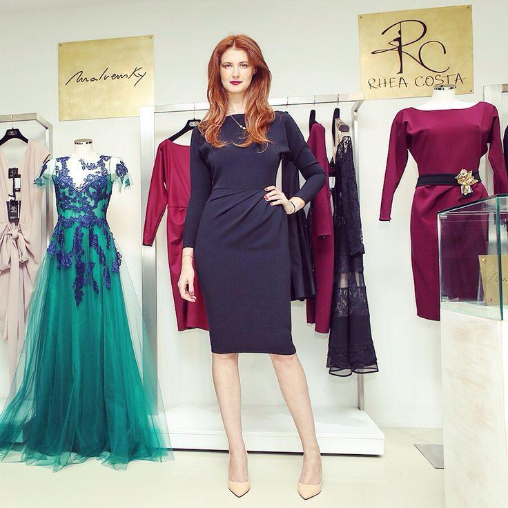 Rhea, our designer, wearing AW14/15 crepe dress