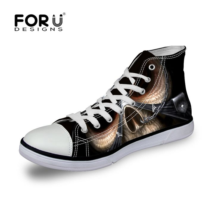Cool Men's Casual Shoes Punk Skull Printed Canvas Shoes,Leisure Men Breathable Lace-ups Flat High-Top Shoes Male Outdoor Sapatos