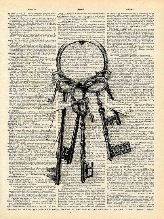 Livre Vintage Art Print - Vintage Skeleton Key Art - conte de fées touche victorienne - Secret Garden clé Print - recyclé livre Art Print