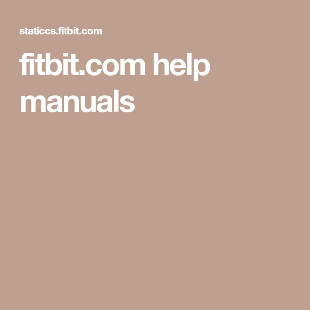 fitbit.com help manuals