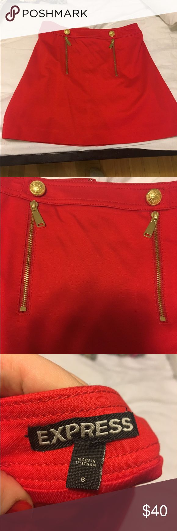 Express Nautical Skirt Red express skirt with gold accents. Zips up the back with a hook closure at the top. Express Skirts Midi