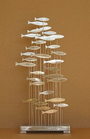 Abstract Metal Sculpture Floating Fish Stainless Free Standing Eames Jere Sty