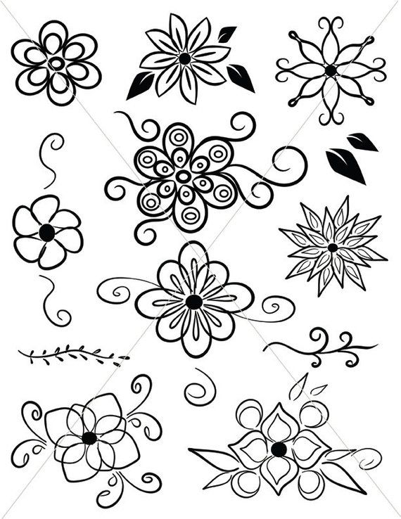 Svg Flowers Digital Clipart Images Floral Graphics Printable Flower Clipart Hippie Art In 2021 Flower Drawing Flower Pattern Drawing Flower Doodles