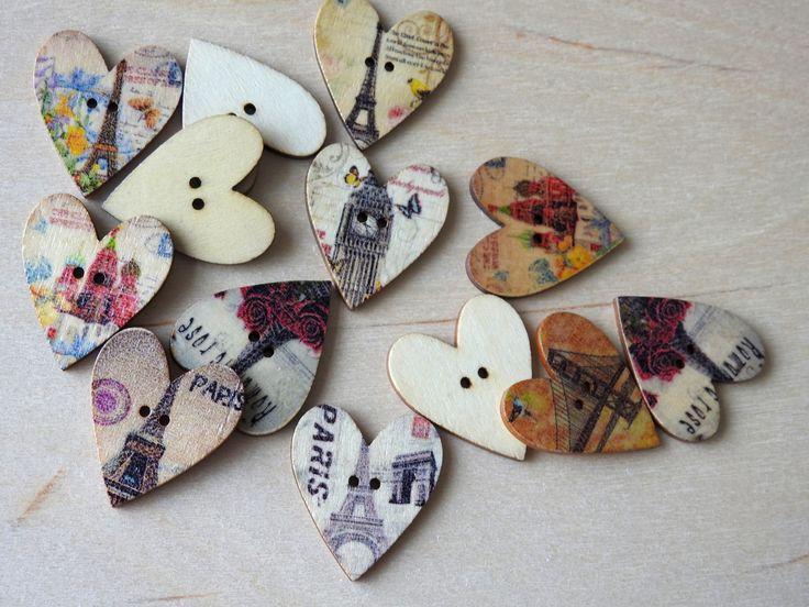 Wooden Buttons Paris Heart 5 pcs