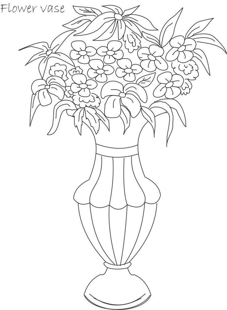 Line Drawing Flower Pot : Flower pot coloring patterns art needlework stained