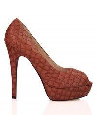 Crocolicious Caramel - Womens brown crocodile platform peeptoe high heel shoes