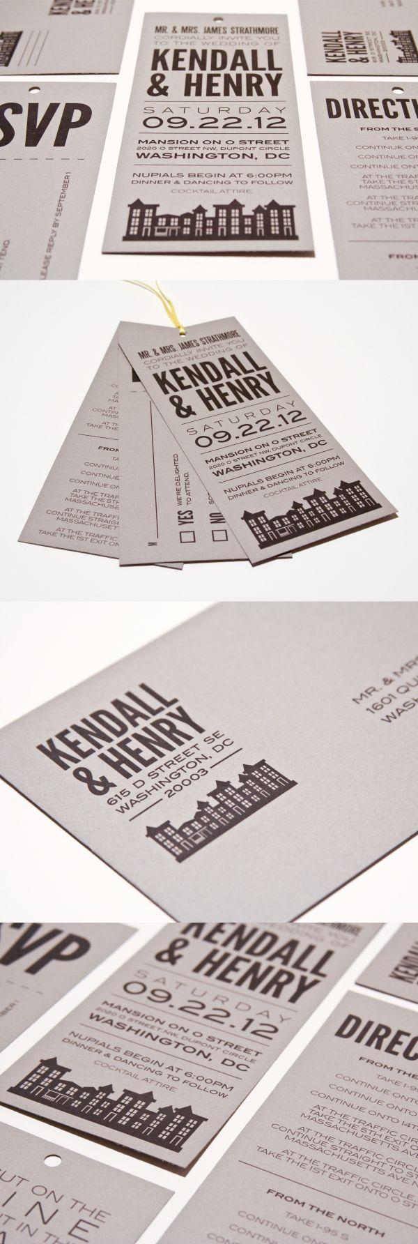 Washington DC wedding invitation - modern urban cityscape