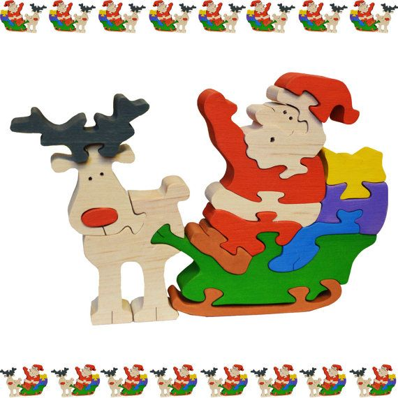 Santa Claus Wooden Christmas Puzzle Jigsaw, HANDCRAFTED COLORFUL 16 pc
