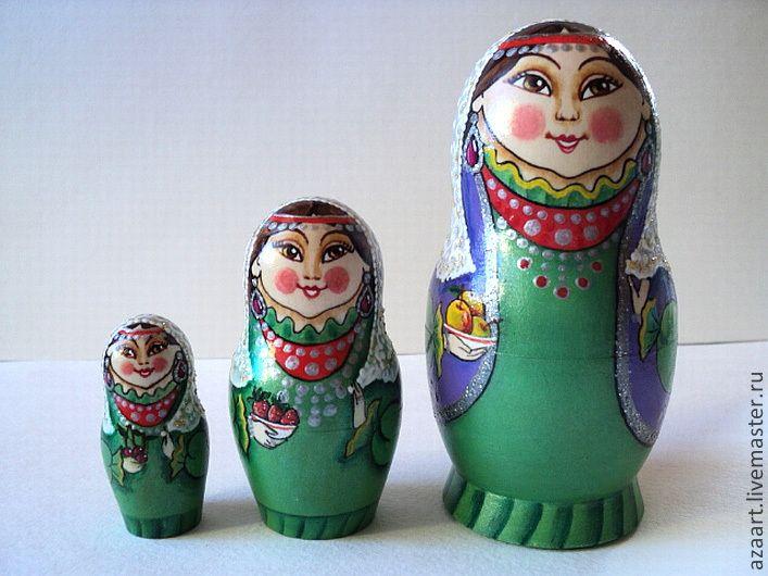 """Купить Матрешка башкирская """"Три сестры"""" - зеленый, матрешка купить, сувениры и подарки, сувенир"""