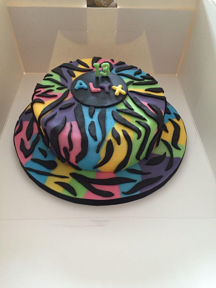 Colourful animal print cake