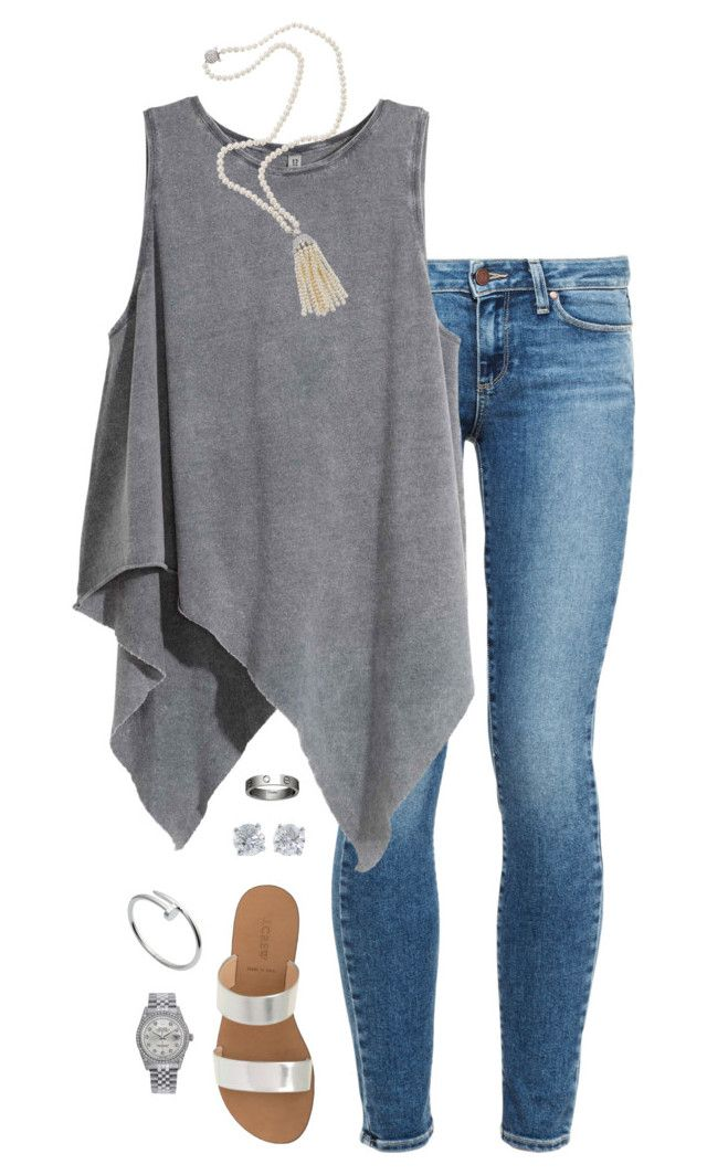 """""""silver"""" by tessorastefan ❤ liked on Polyvore featuring Paige Denim, J.Crew, Fantasia, Cartier, Rolex and Tiffany & Co."""