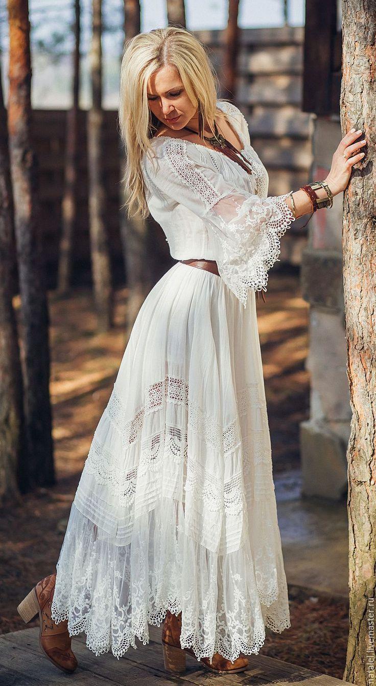 """Купить Юбка и блузка с кружевом """"White lace"""", БОХО, кружево хлопок - белый, юбка в пол"""