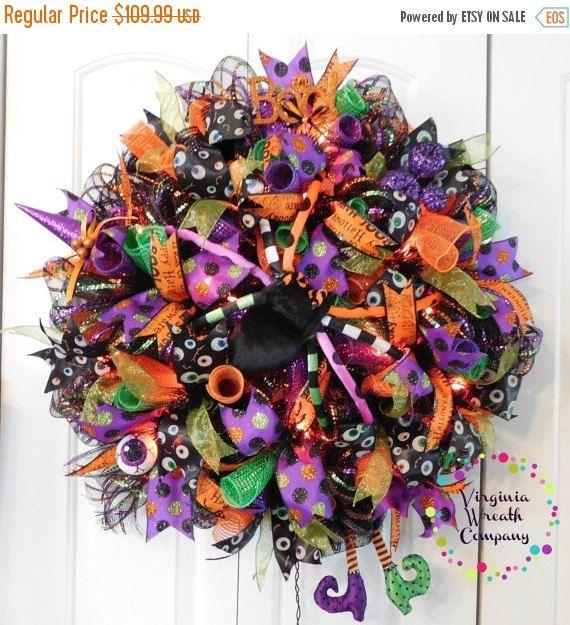 PreBlack Friday Sale Lighted Halloween Wreath, Deco Mesh Halloween Wreath, Orange Light Wreath, Witch Wreath, Witch Boots, Lighted Wreath, S by VirginiaWreathCo on Etsy