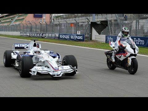 F1 Car vs Bike: BMW Sauber F1 vs BMW S 1000 RR - YouTube