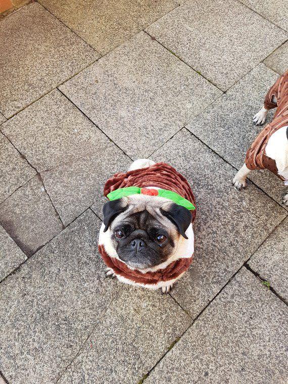 Christmas Pudding Holiday Dog Costume Outfit Fits Medium Pug Jack